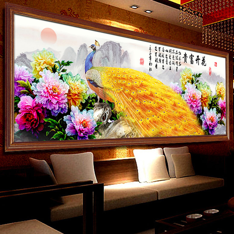 5d diamond diamond embroidery painting new stitch blossoming peacock figure masonry embroidered round diamond paste diamond stitch living room peony