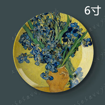 6 inch van gogh painting porcelain decorative plate hanging plate sit plate ceramic dish plate wobble creative home wall art disc