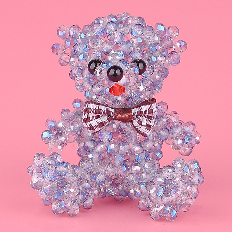 6 MM crystal teddy bear ornaments hanging ribbon bow diy handmade beaded jewelry materials package