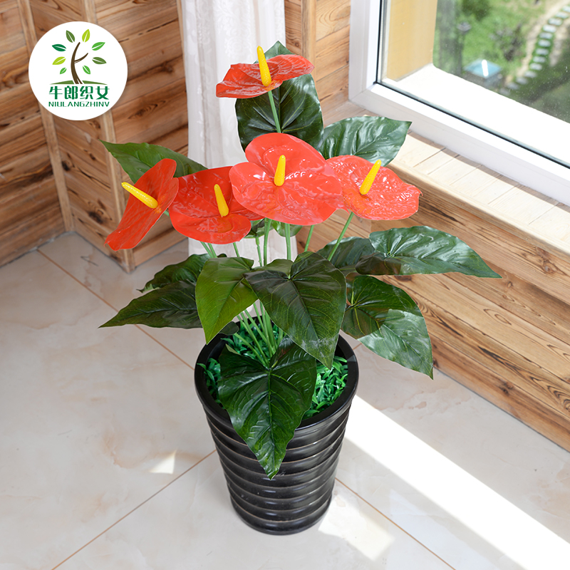 60CM five anthurium plants artificial flowers artificial flowers decorate the living room floor suite indoor potted plants trees small decorative flower