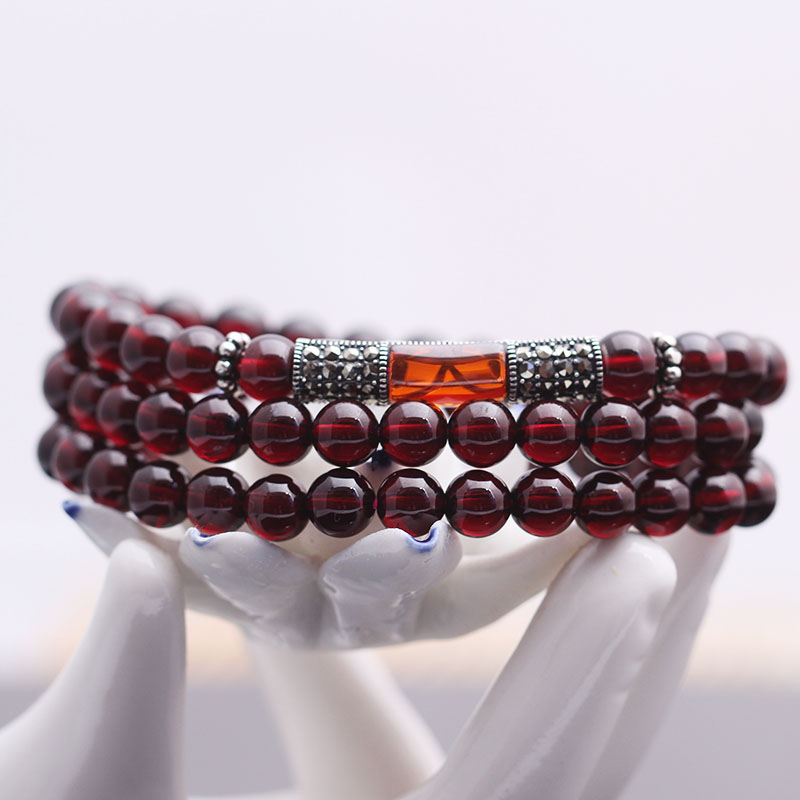 6a level burgundy garnet bracelet female natural crystal multilayer multiturn vitreous 925 silver bracelets