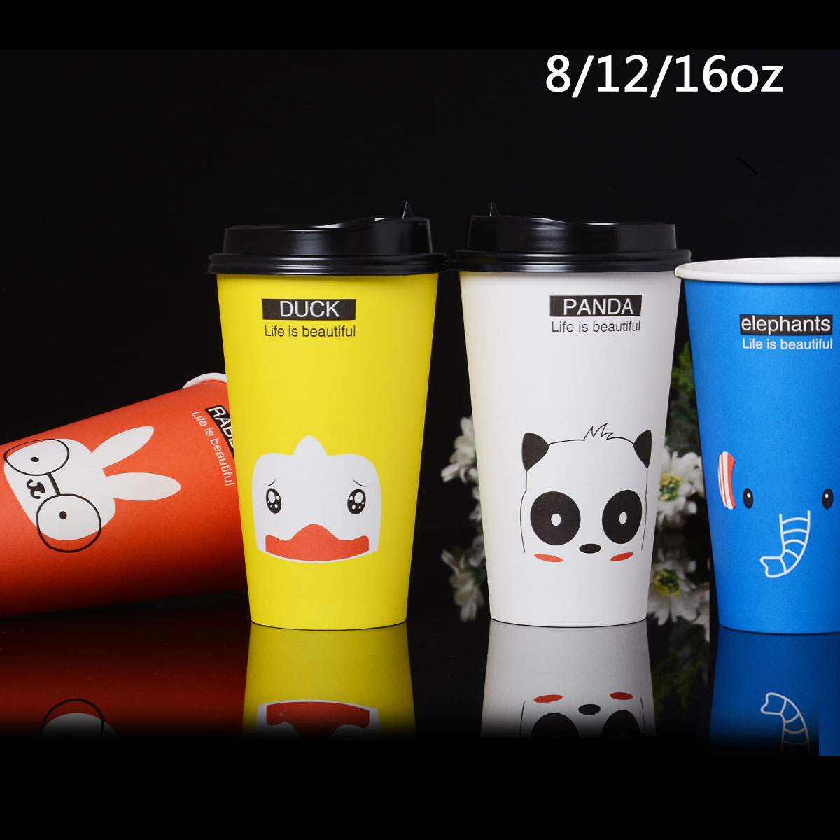 8/12/oz thick cups cartoon cups of tea juice beverage cup coffee cup 100 covers