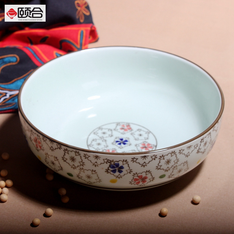 8 inch creative jingdezhen ceramic bowl japanese underglaze color tableware large soup bowl straight mouth bowl household costela