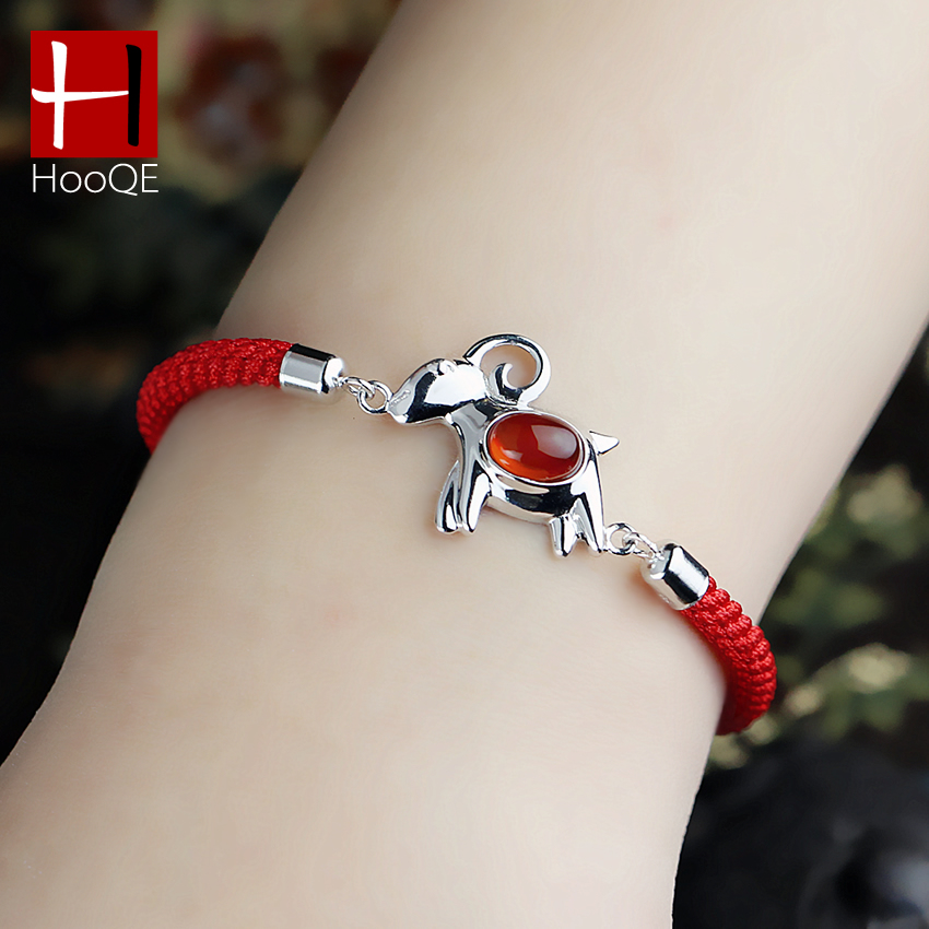 925 silver jewelry new year of the ram zodiac sheep red string bracelet natal red agate female couple new year's gift