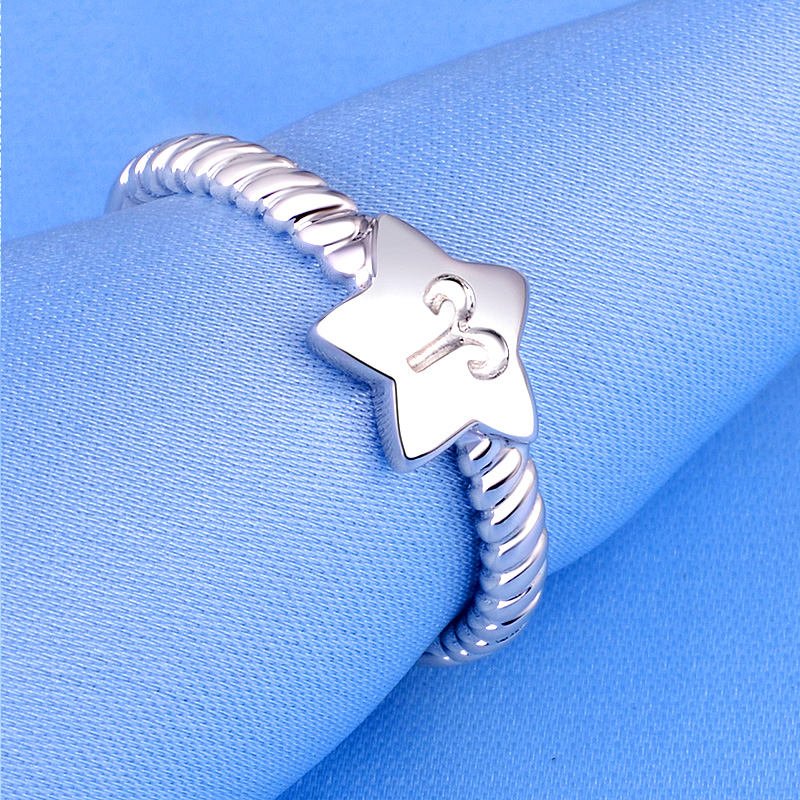 925 silver jewelry twelve constellation ring opening female korean fashion personality index finger tail ring lettering birthday gift