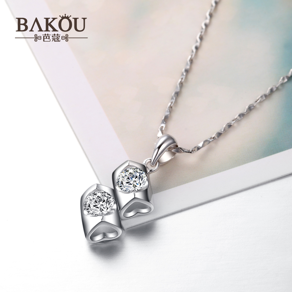 925 silver necklace female korean version of the clavicle pendant necklace female short clavicle chain necklace heart necklace girls day