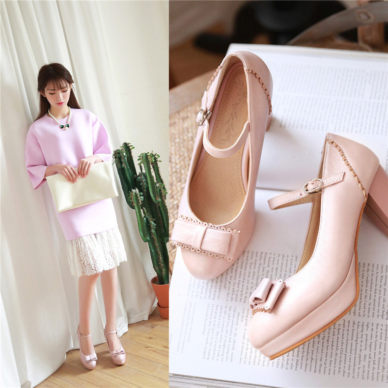 9cm high with thick with round sweet bow shoes dating shoes ankle strap banquet of the four seasons shoes shoes women's singles