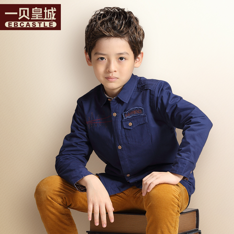 A bay imperial kids boys shirt plus thick velvet winter korean version of big virgin boy child long sleeve shirt 2016