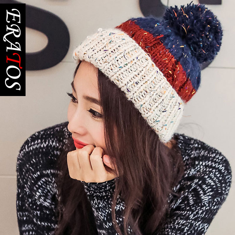 5a7abac5e1d Get Quotations · A coarse line cap hat knitted hat tide ms. spell color  thick warm autumn and
