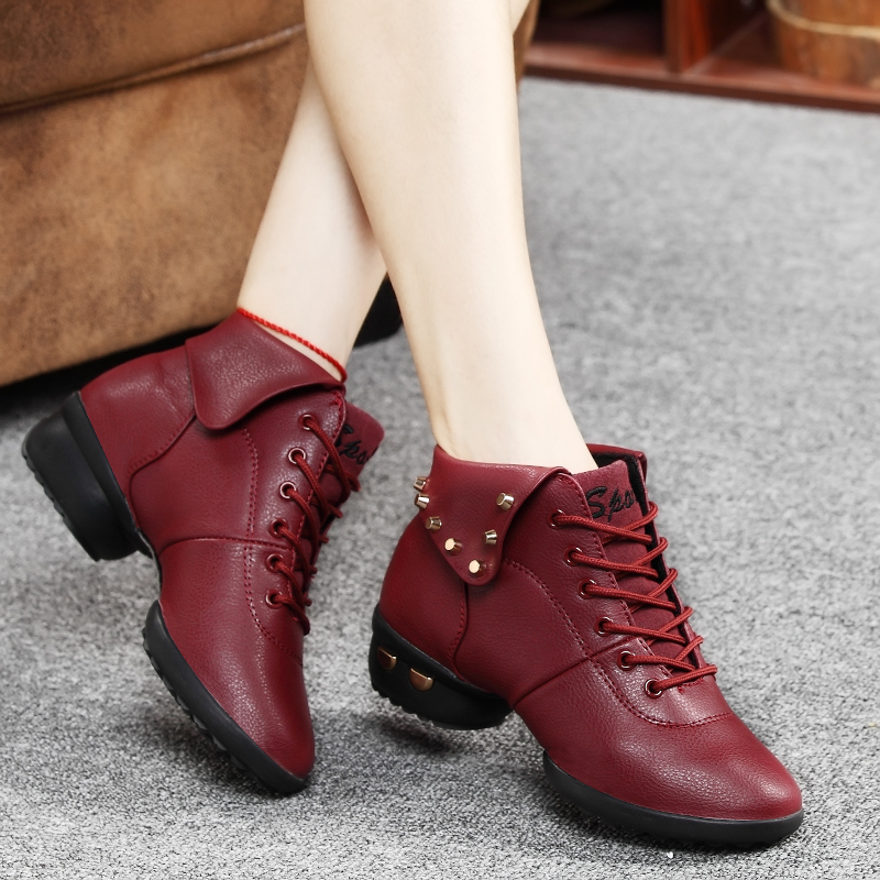 A lewei red leather mesh modern square dance shoes women dancing shoes plus velvet soft bottom dance aerobics shoes increased