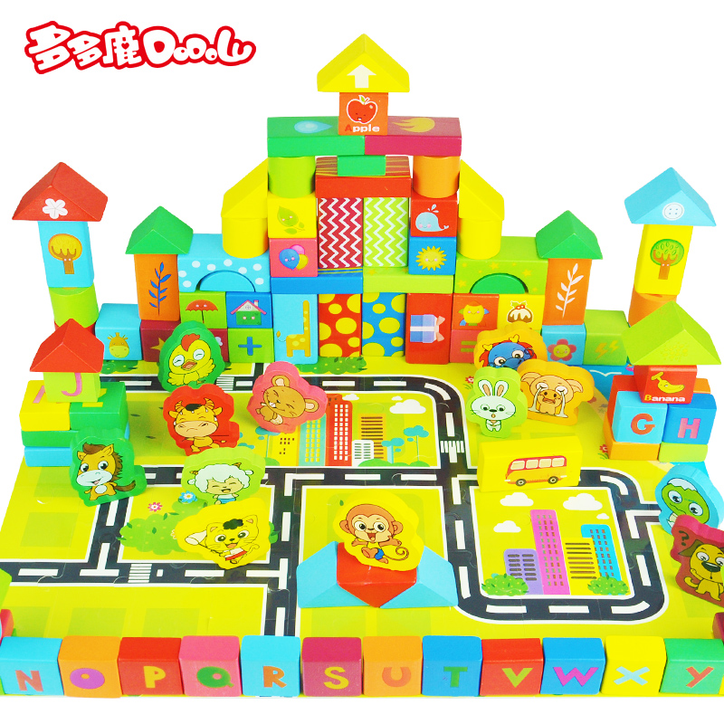 A lot of deer 160 large wooden building blocks of literacy for children under the age of 1-2-3-6 6åbaby thanmonolingualsat force early childhood toys
