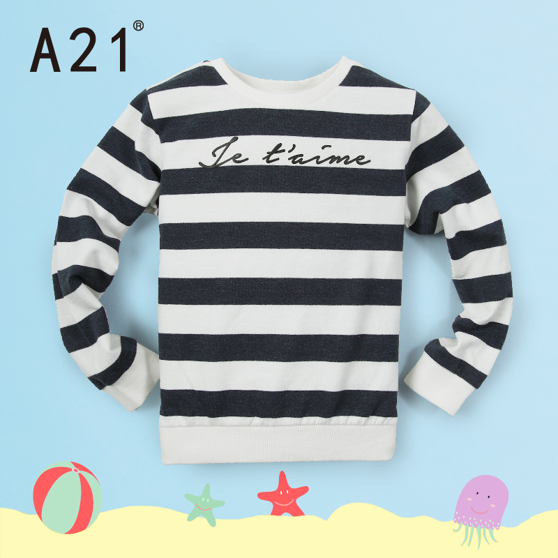 A21 pure childrenwear 2016 dongkuan warm long sleeve striped sweater hedging boy big virgin sleeved knit sweater