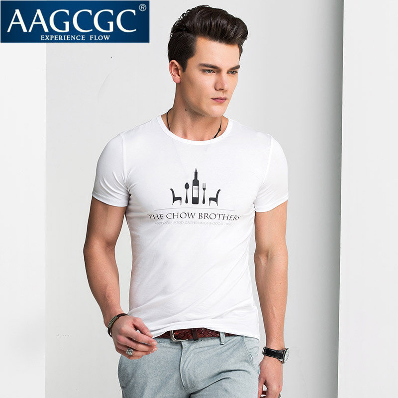 Aagcgc summer bottoming shirt slim thin section men casual men's round neck short sleeve t-shirt printing tide male 8470