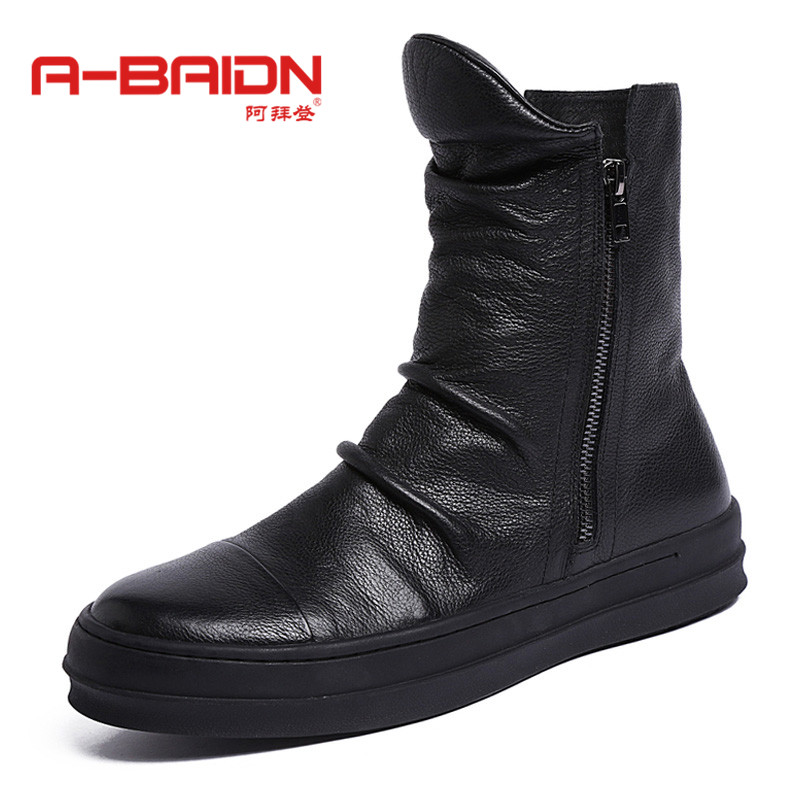 Abaidn/o biden autumn and winter european and american fashion round men's leather boots bullock carved high shoes 920