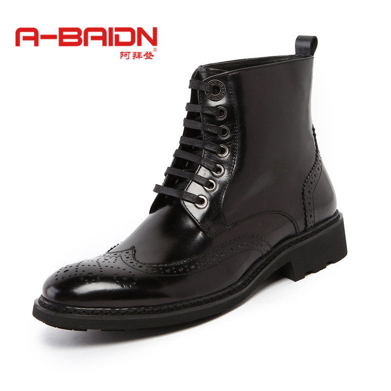 Abaidn/o biden autumn and winter leather men's punk high help tide shoes men's casual shoes lace shoes of england 919