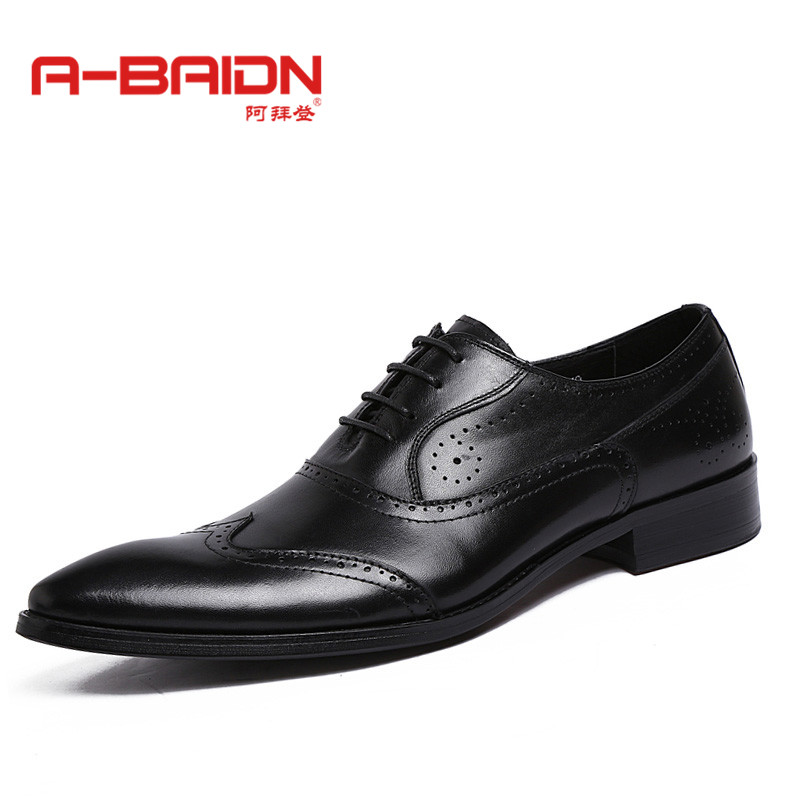 Abaidn/o biden hornskin autumn and winter shoes everyday business casual shoes leather lace shoes influx of flow round men's 918