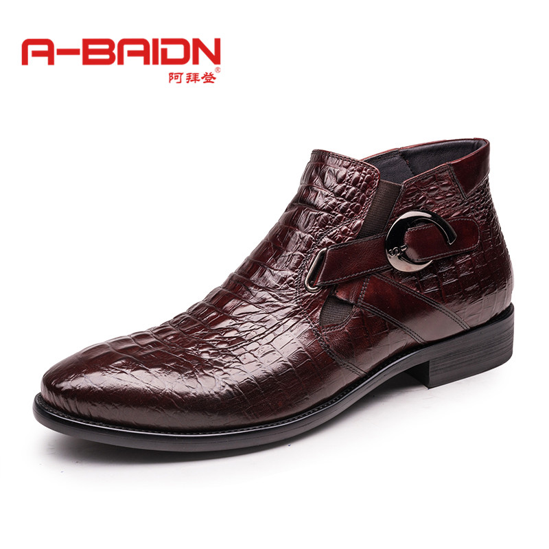 Abaidn/o biden takou round high shoes boots england autumn and winter fashion trends leather men boots 118