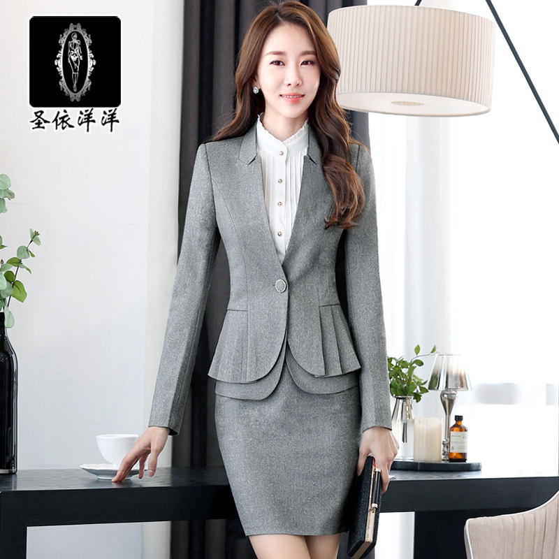 According to st. lengthy autumn and winter high collar slim women wear skirt suits ol dress career suits overalls female