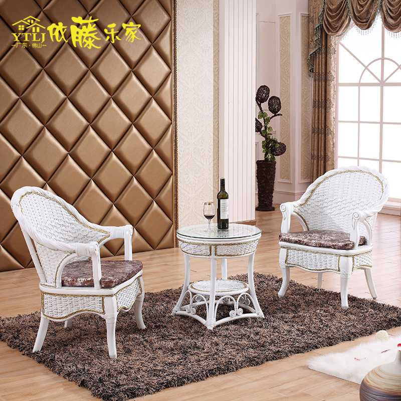 According to the cane roca really wicker chairs coffee table three sets of european modern white minimalist balcony rattan chairs leisure furniture combination