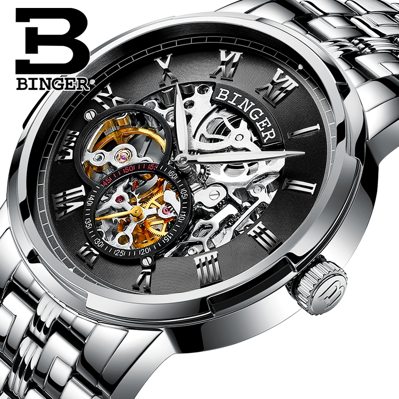 Accusative genuine automatic mechanical watches men watch double hollow men's watches luminous waterproof stainless steel qualities