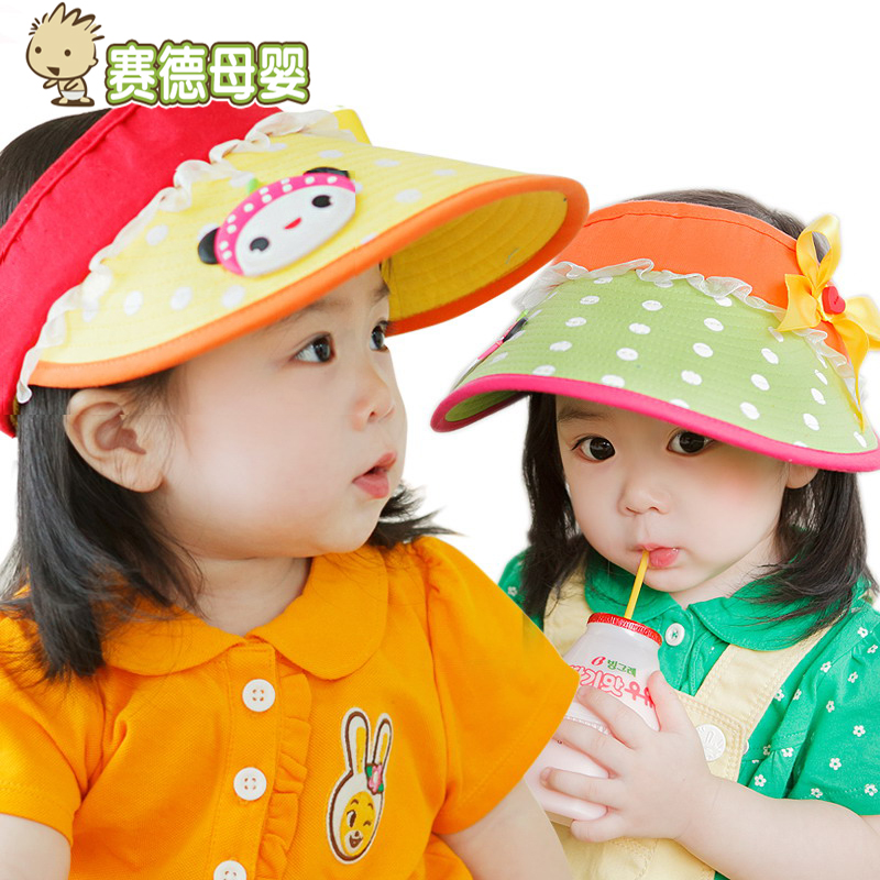 Adjustable boys and girls large brim sun hat baby cap and empty top hat summer hat korean children in autumn