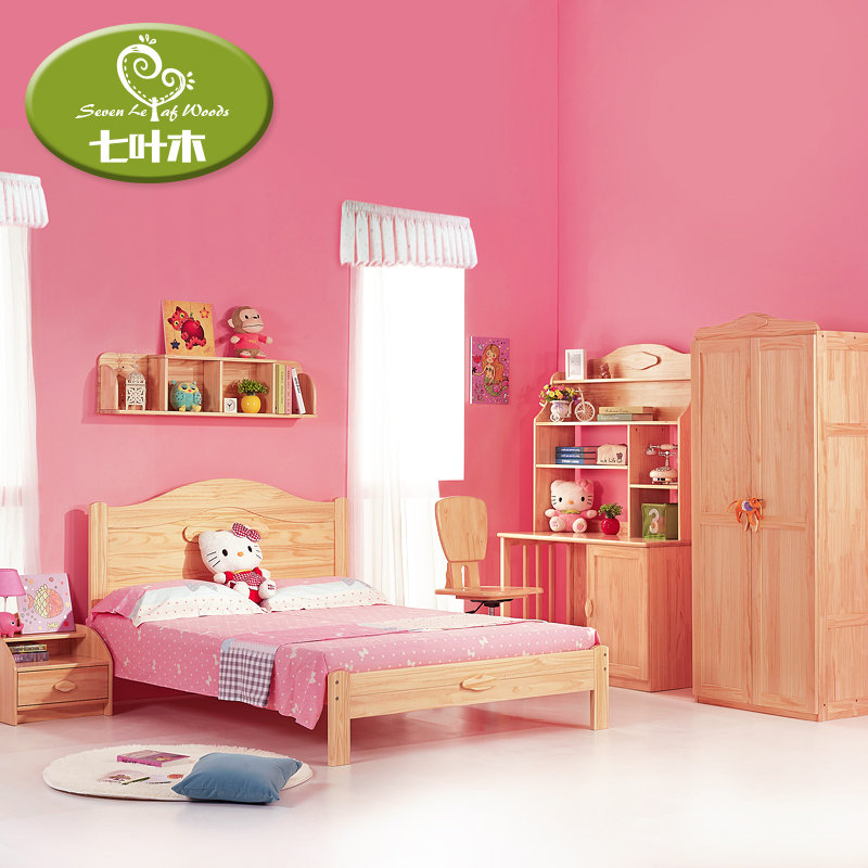Aescinate pine wood children's furniture suite 1.2 m/1.5 m bed children's bed desk wardrobe combination