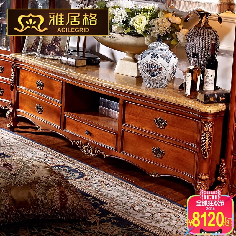 Agile grid american solid wood tv cabinet marble coffee table tv cabinet living room with solid wood furniture R5104 $