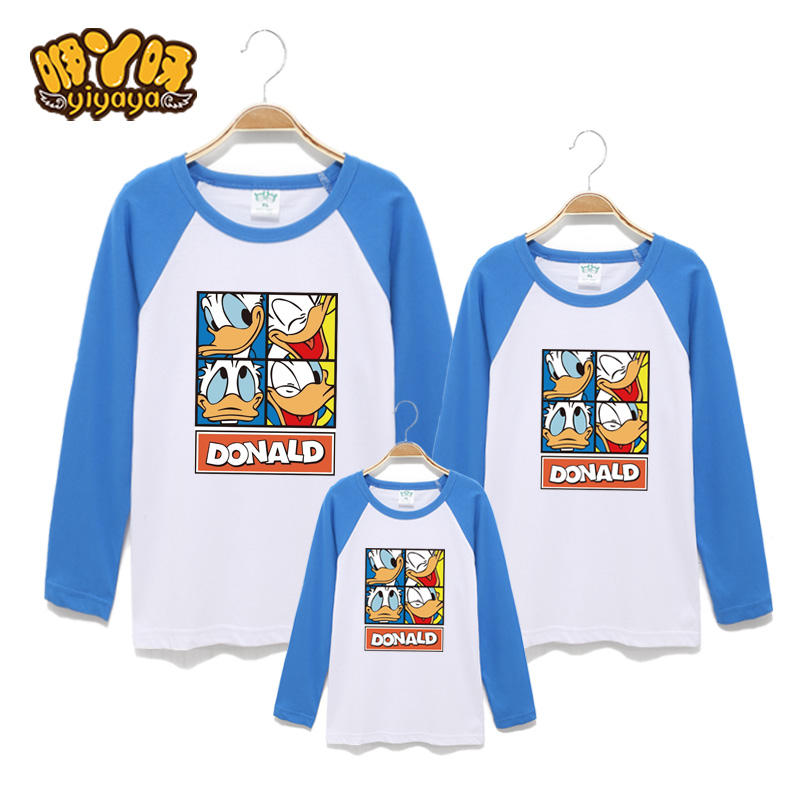 Ah ah babble paragraph donald duck t-shirt family fitted 2016 spring and autumn cotton long sleeve t-shirt children's cartoon family