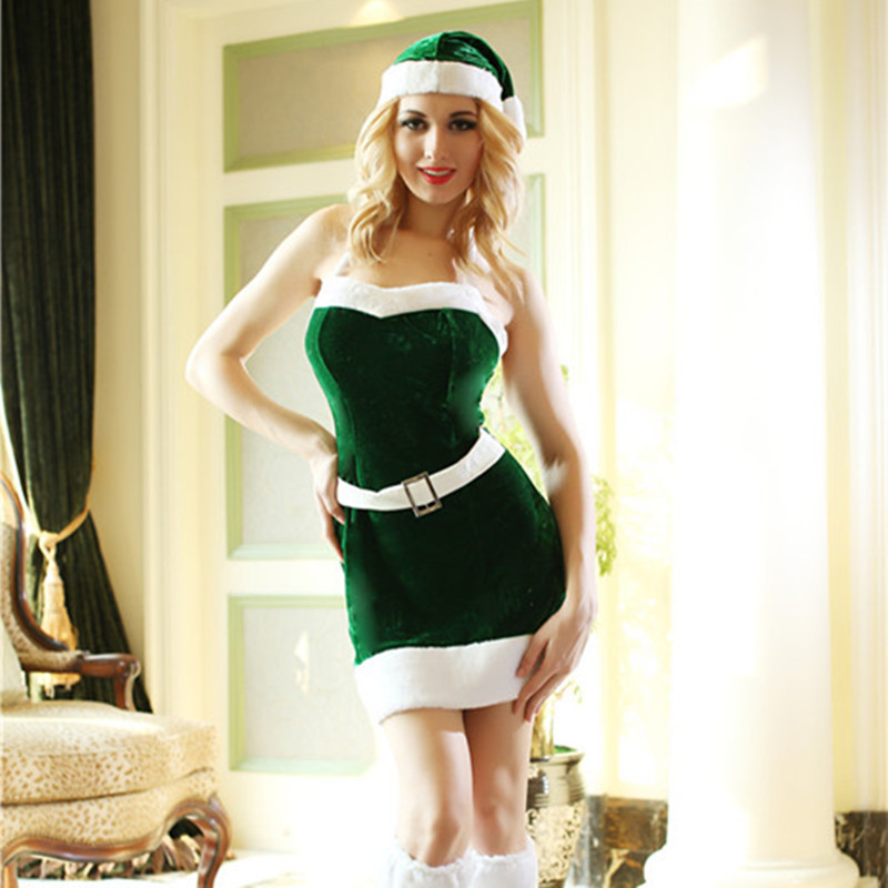 Ah na nan santa claus lively green elf cosplay women sexy christmas costume costumes