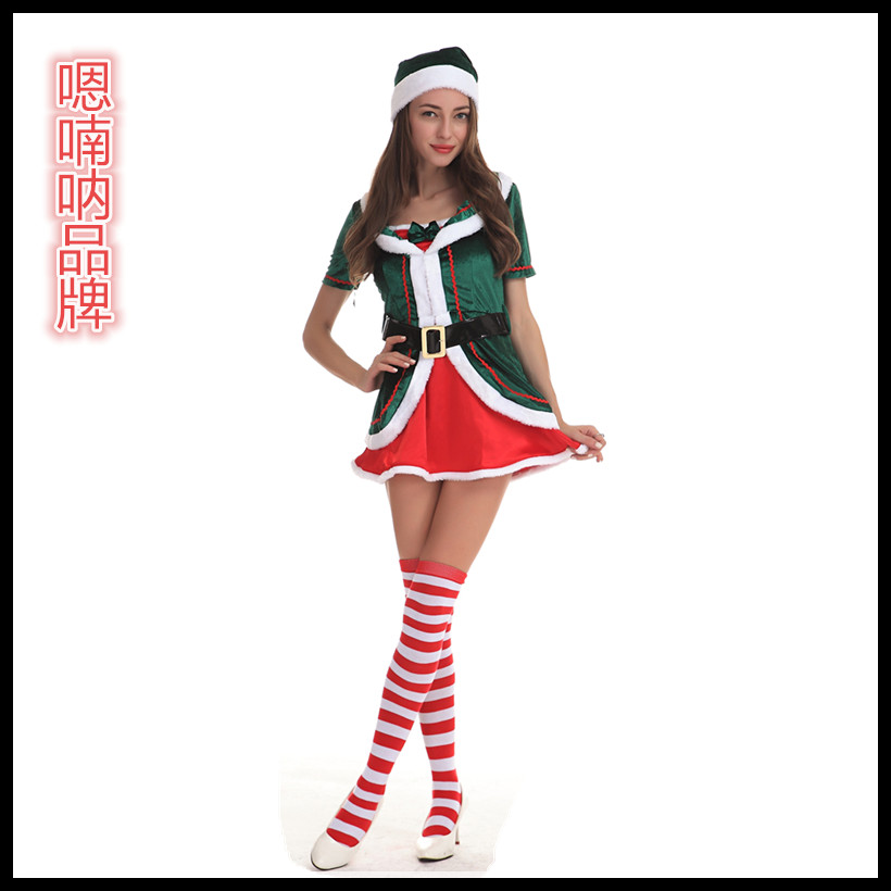 Ah nan na cute christmas red and green christmas holiday party dress uniforms ds stage costumes sexy role