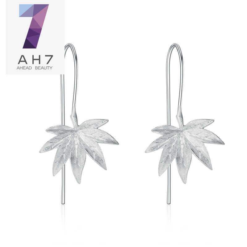 Ah7 maple piece long section s925 silver ear wire earrings female models sweet little fresh female korean jewelry ear japan and south korea
