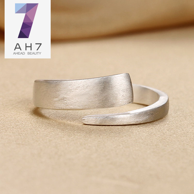 Ah7 s925 simple silver ring finger ring opening female models matte brushed sterling silver jewelry korean version of the breadwinner