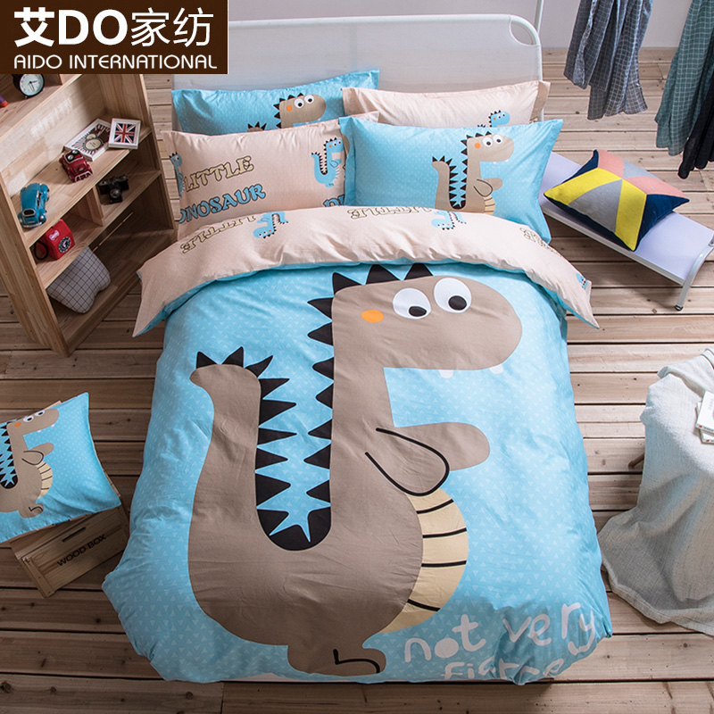 Ai do fashion cartoon style 100% combed cotton reactive printing a family of four students children quilt family of four