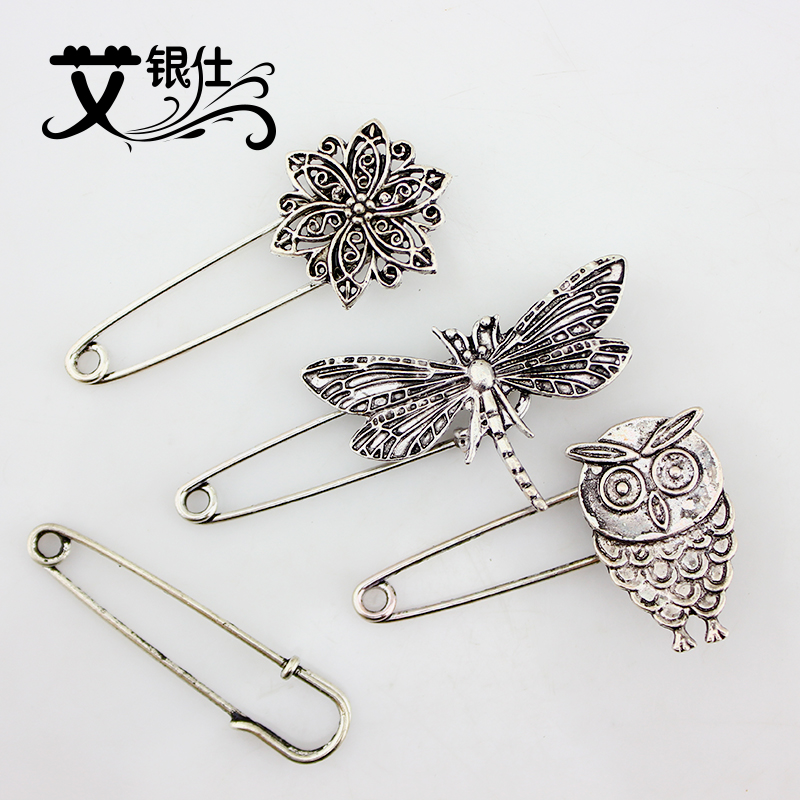 Ai yinshi ancient silver jewelry accessories brooch vintage silver buckle big corsage brooch pin buckle sweater shawl