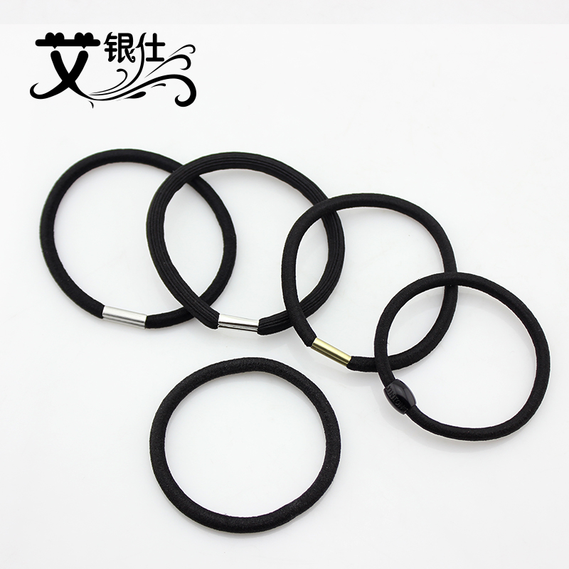 Ai yinshi diy hair accessories material diy retro black hair ring tousheng hair rope accessories handmade beaded hair accessories hair rubber band