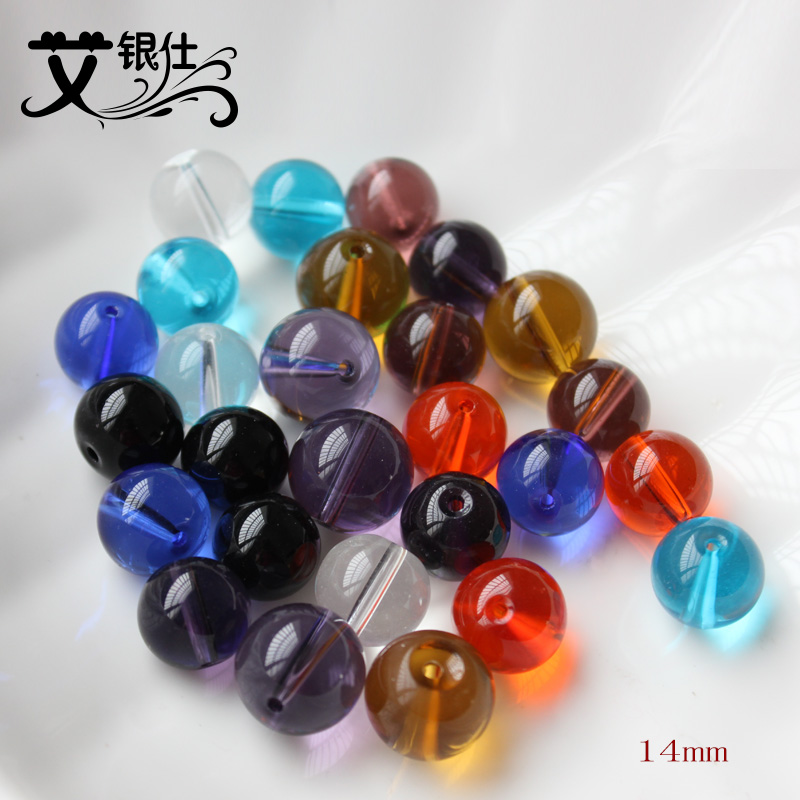 Ai yinshi diy handmade beaded curtain material loose beads crystal beads glass beads 14mm glass beads round