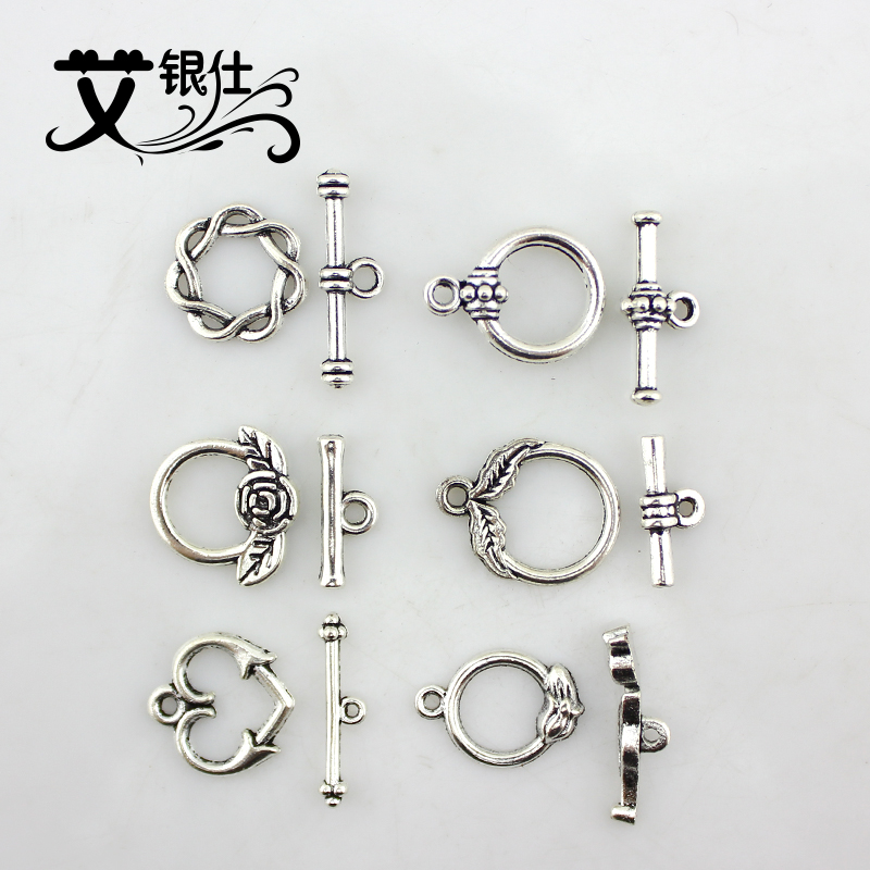 Ai yinshi diy handmade imitation tibetan silver beads diy materials retro antique silver alloy ot buckle clasp bracelet necklace