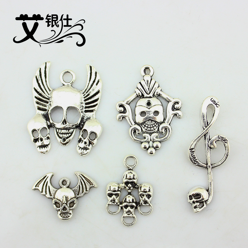 Ai yinshi diy handmade jewelry accessories diy accessories tibetan silver handmade beaded imitation fashion skull pendant