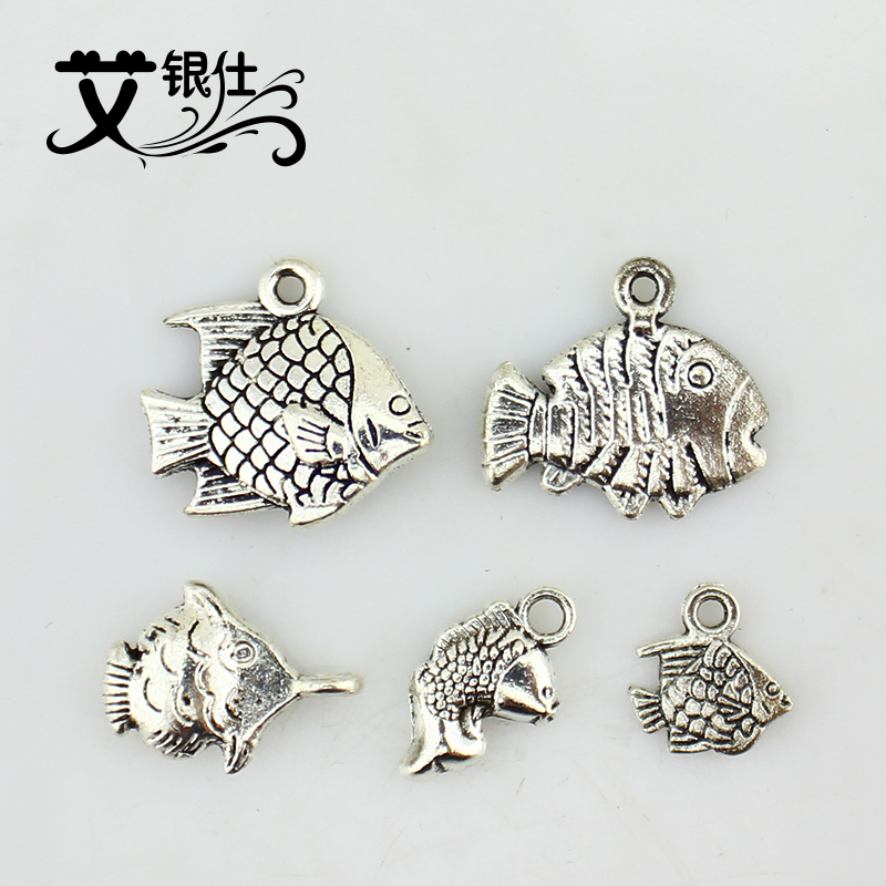 Ai yinshi jewelry accessories diy alloy jewelry accessories direct imitation thai silver carp fish fish pendant handmade