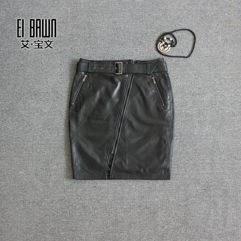 Aibao wen europe station haining leather sheep skin leather skirt skirts 2015 autumn paragraph oblique zipper skirt wild