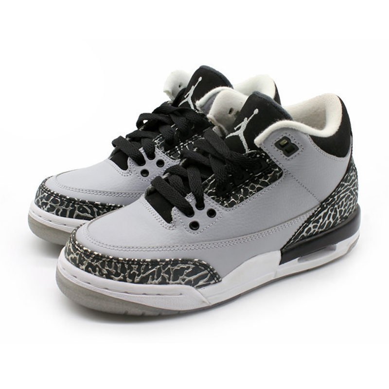bb758cdf0226 Get Quotations · Air jordan 3 retro bg wolf grey wolf burst crack gray  women s basketball shoes 398614-