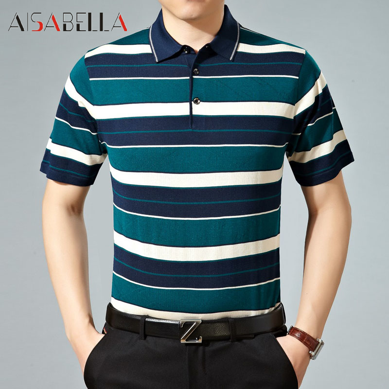 Aisabella2016 summer business casual men's fashion casual loose striped t-shirt male models rimula