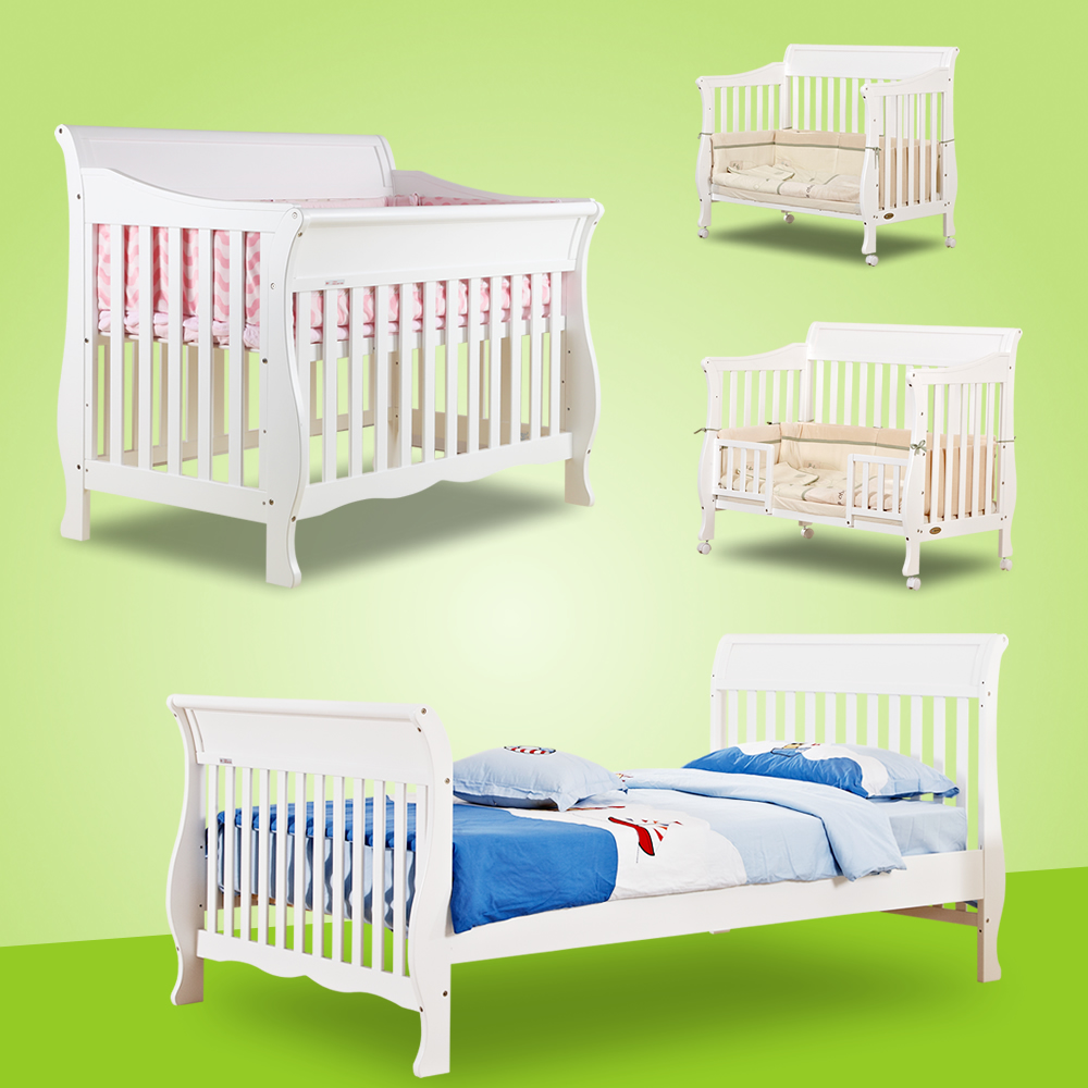 Aisi bo child crib european tasteless green paint wood crib baby bed bb white multifunction 6006