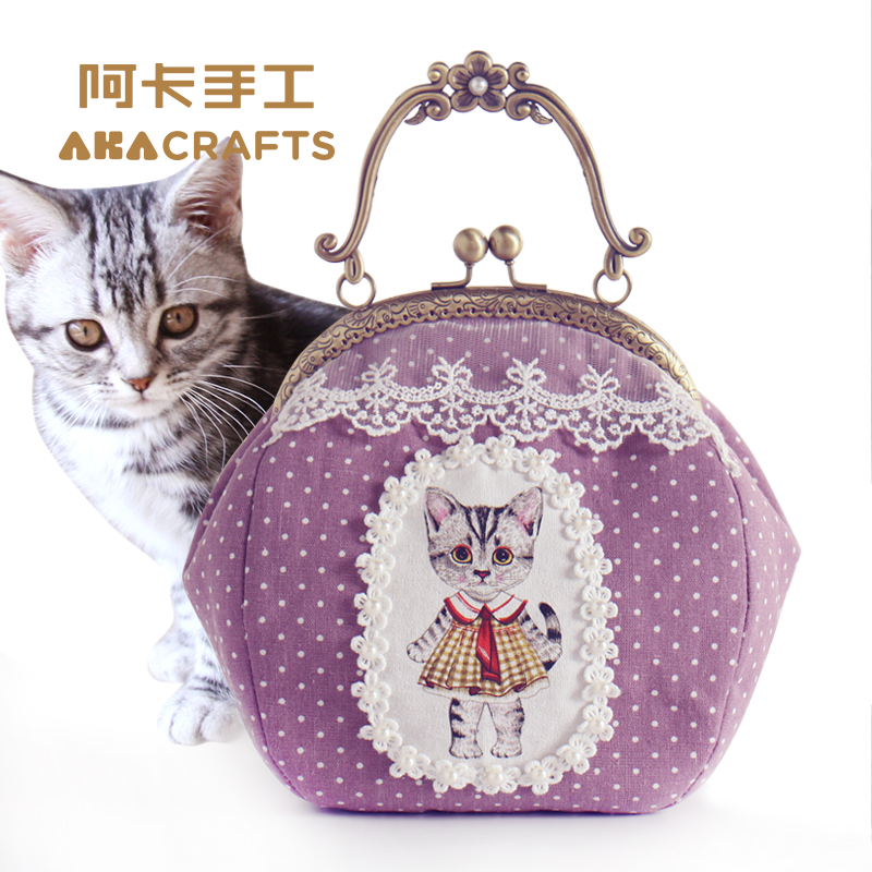 Aka diy handmade wealthy kitty beautiful handbag satchel bag purse mouth gold package diy fabric material package
