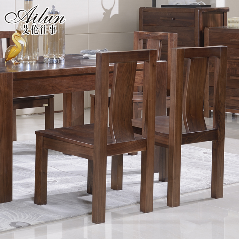 Alan past black walnut wood dining chair all solid wood dining chairs modern chinese solid wood chairs solid wood furniture 052