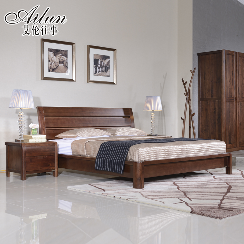 Alan past chinese black walnut wood bed specials 1.8 m 1.5 m wooden double bed 072 of solid wood furniture