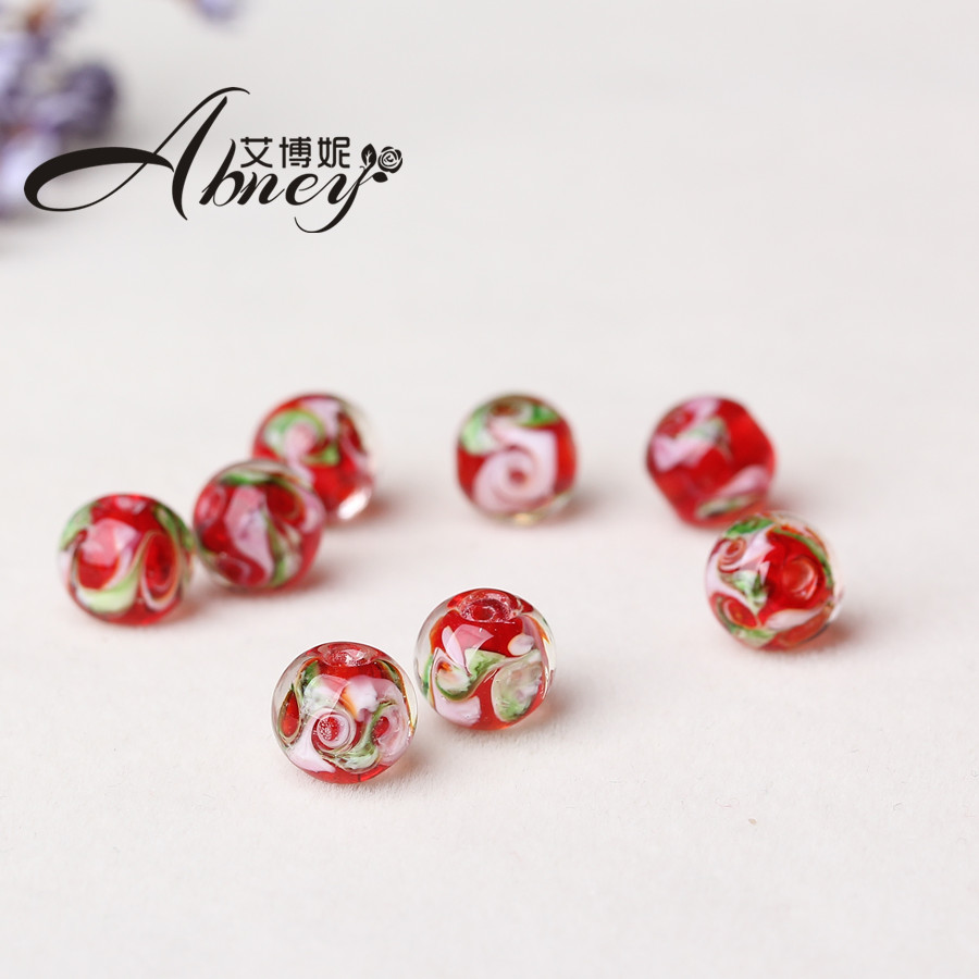 Albanese borderies glass beads scattered beads barrel beads with beads red beads diy jewelry accessories material 9*10mm