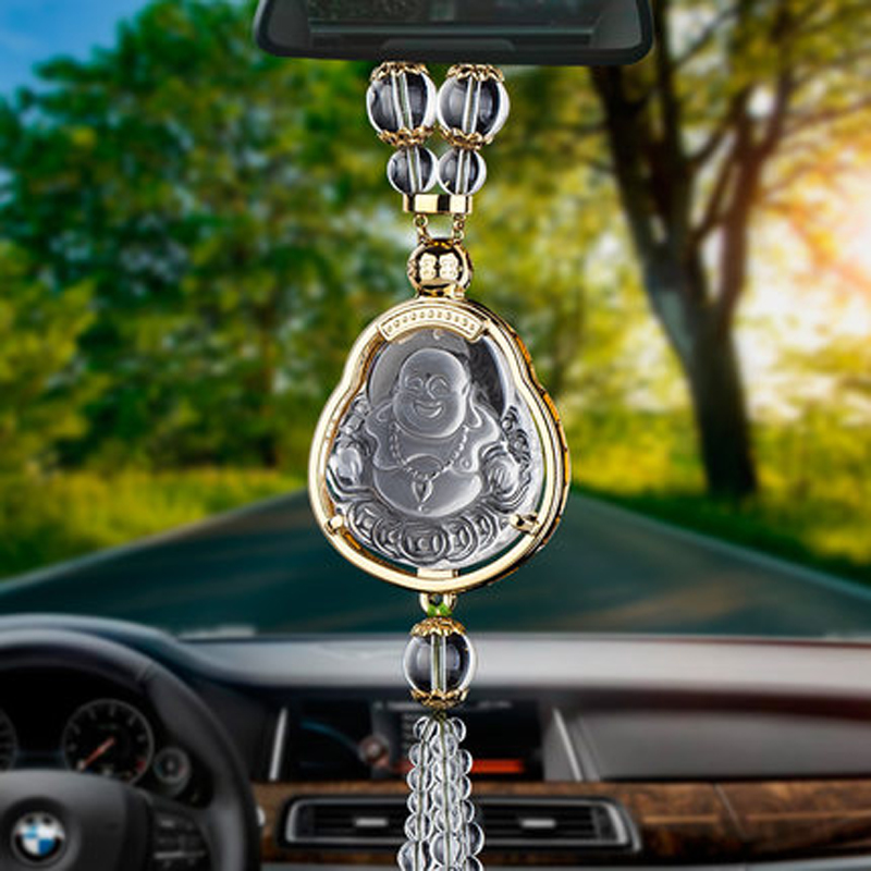 Alice car rearview mirror pendant crystal ornaments car accessories ornaments for men and women perspective tone buddha brave troops for security and peace symbol