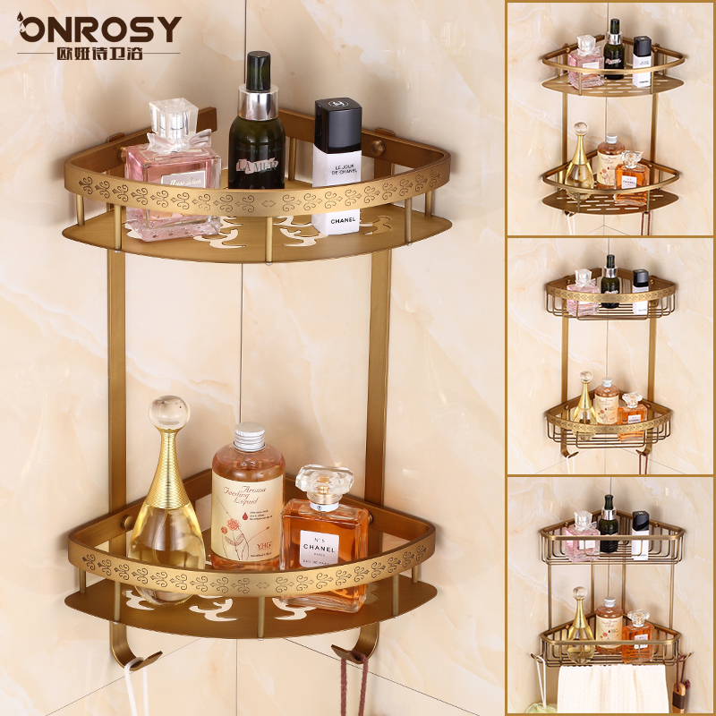All copper antique european bathroom bathroom double triangle basket racks bathroom corner shelf tripod retro