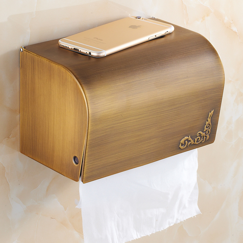 All copper antique towel rack toilet paper box tissue box waterproof roll holder closed toilet paper holder bathroom shelf